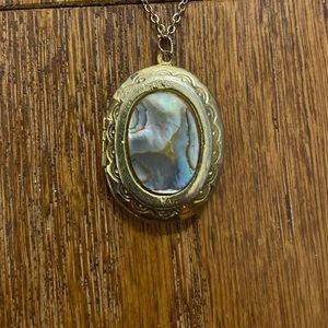 Abalone seashell locket pendant necklace
